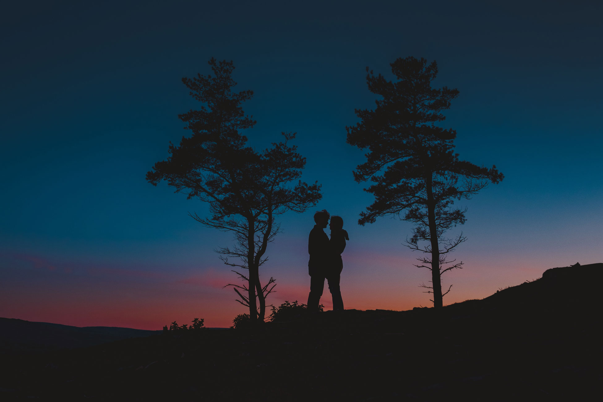 a sunset silhouette on an engagement shoot up on dartmoor