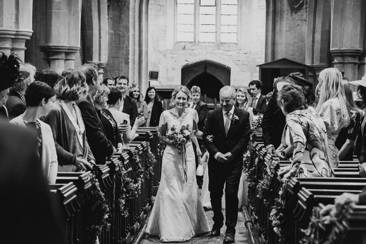 a bride being given away by her father