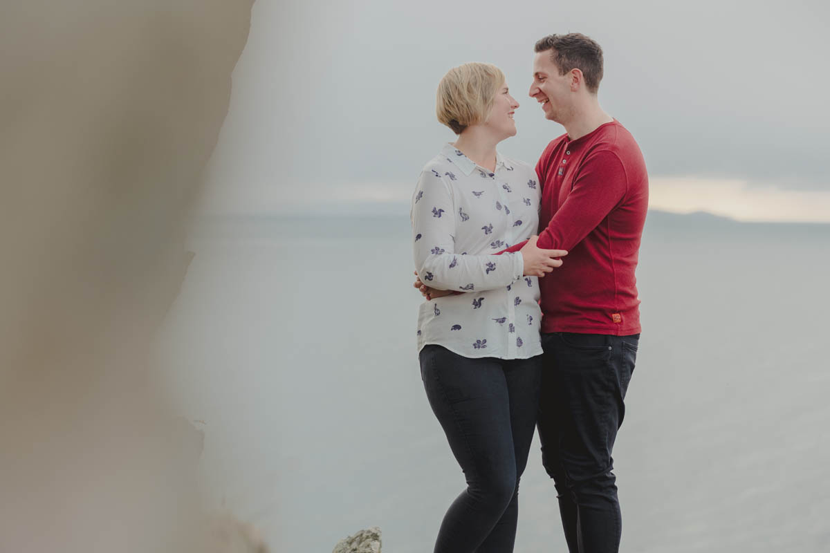the Cornish coast with our newly engaged couple on their engagement shoot