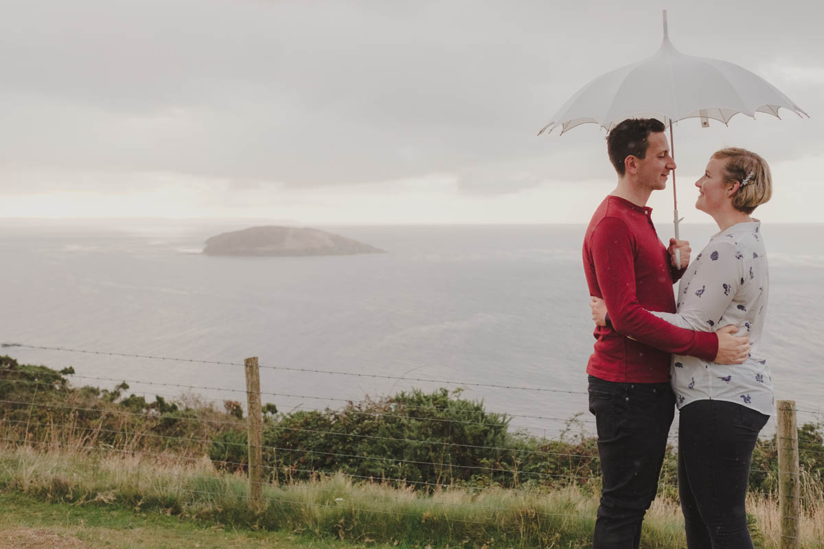 a couple on their engagement photography shoot in cornwall