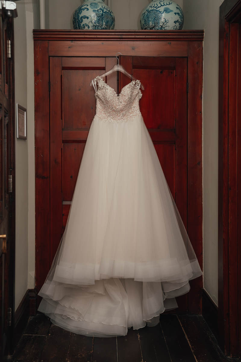 the bridal gown in the bridal suite