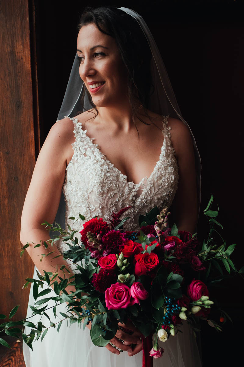 a beautiful bride on her wedding day at Huntsham Court
