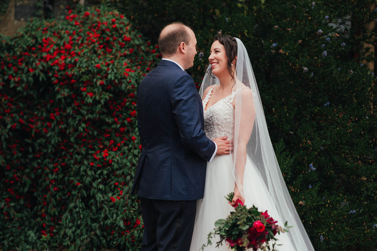 bride and groom at huntsham court on their wedding day