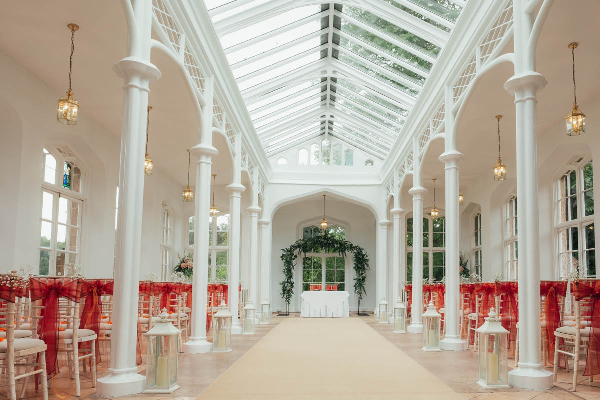 the orangery decorated for the wedding reception