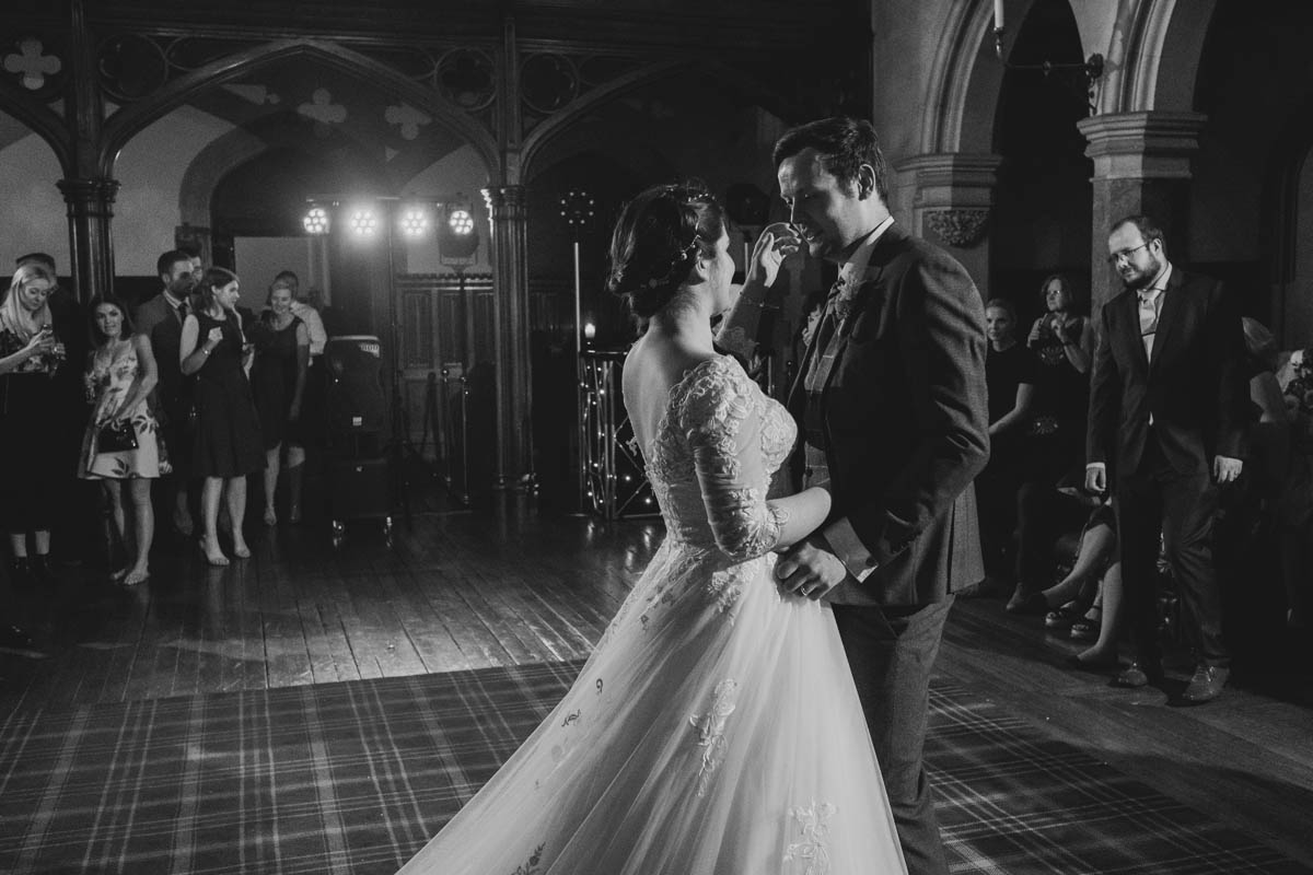 bride and groom's first dance in the great hall at st audries park