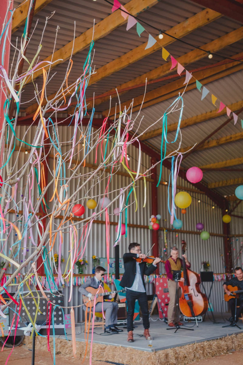 bright colourful streamers to decorate the Wiltshire farm
