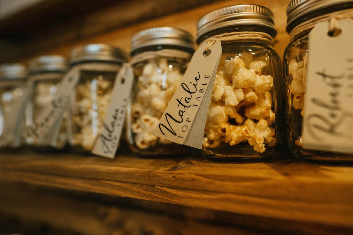 popcorn in jam jars
