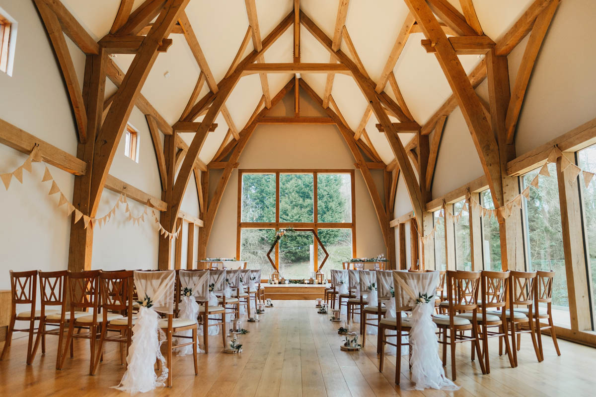 the wedding ceremony room at the mill barns