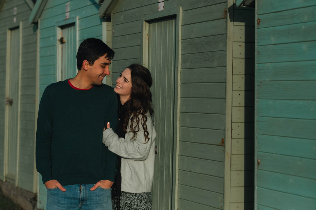 engagement shoot beach huts