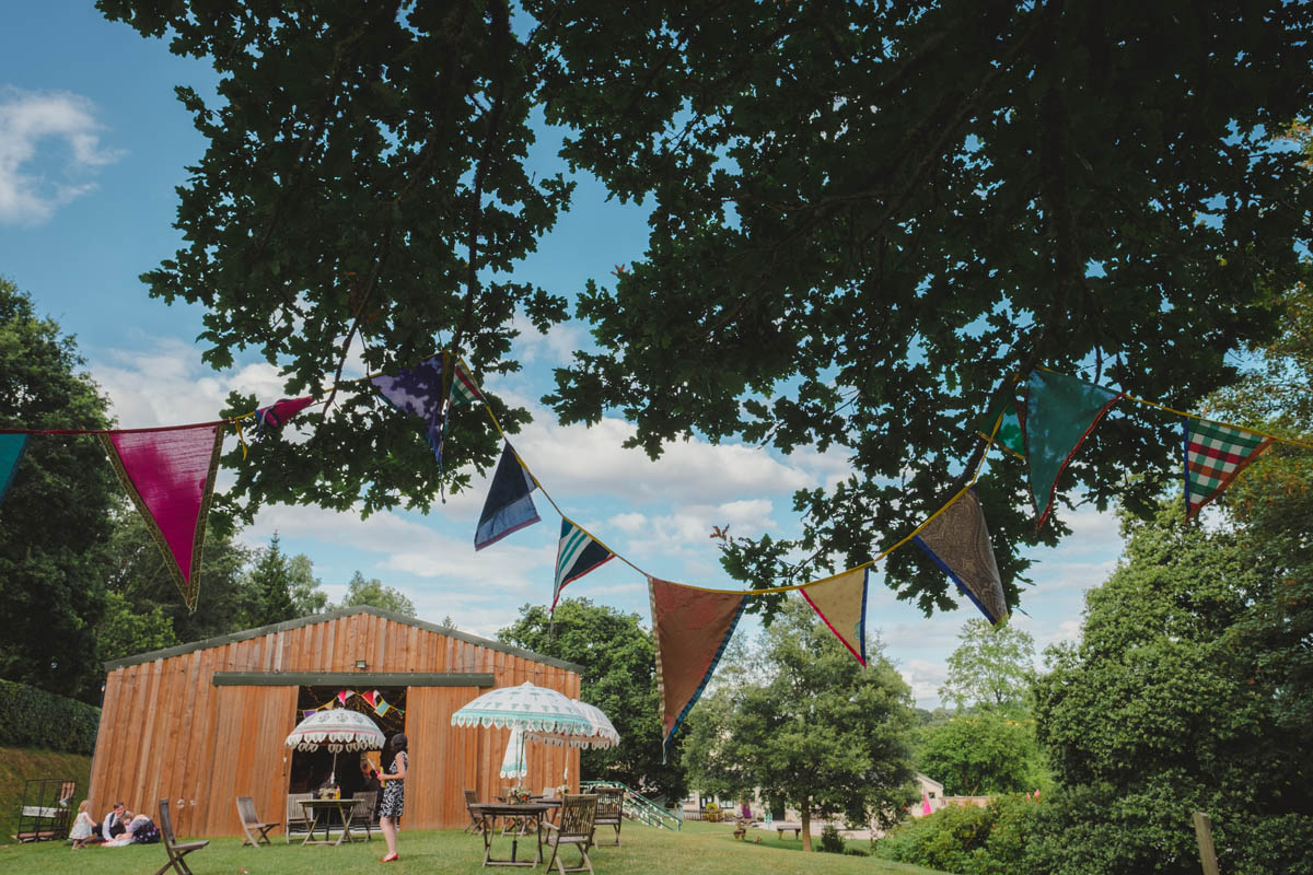 festival style decorations at canonteign fall wedding