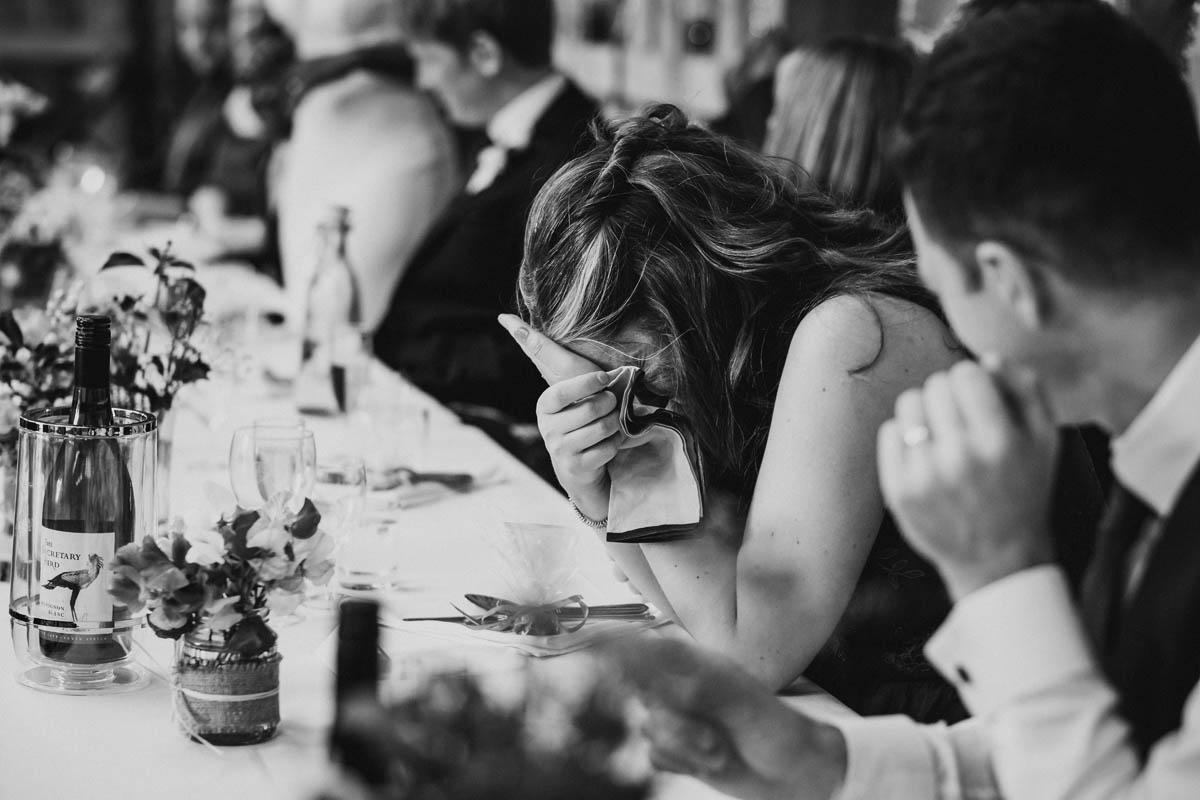 bride's friend crying during the speeches