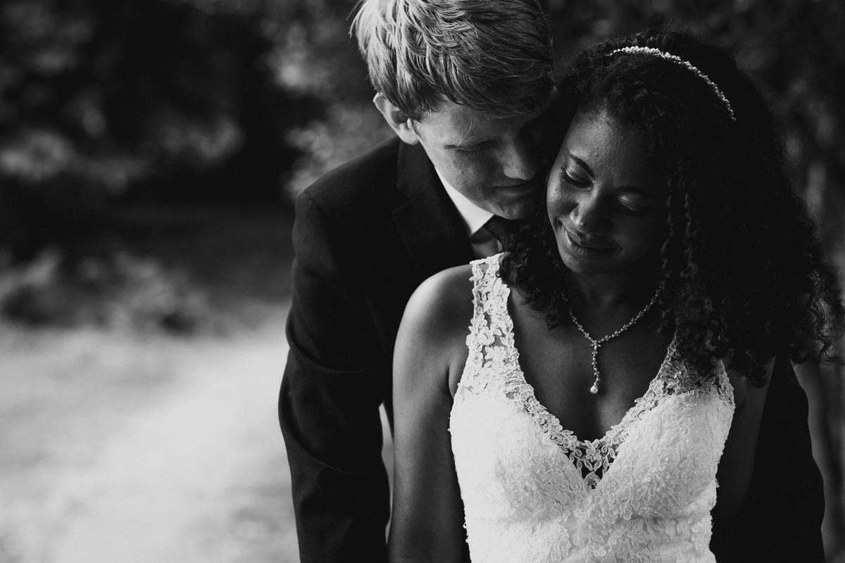 black and white newly wed portrait
