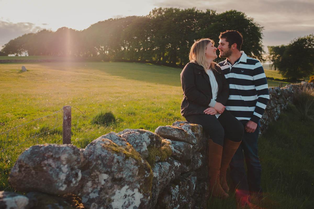 couple on their pre wedding shoot at dartmoor
