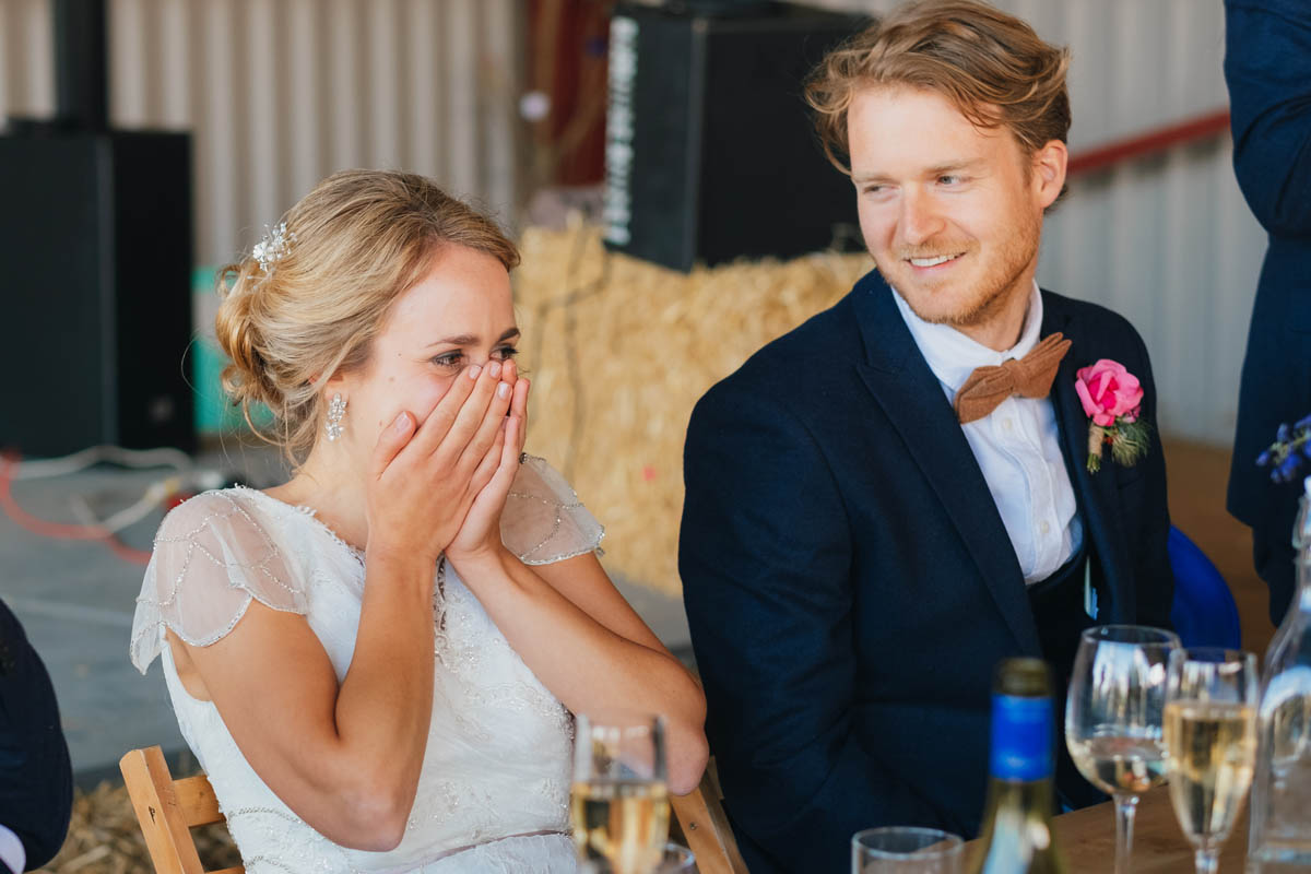 bride cringes at her dad's speech