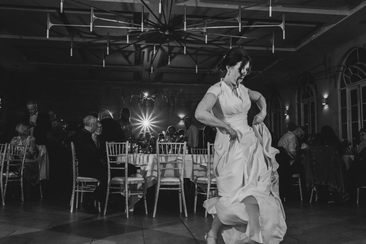 the bride dances wildly
