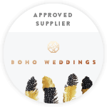 Approved wedding supplier badge from Boho Weddings Directory